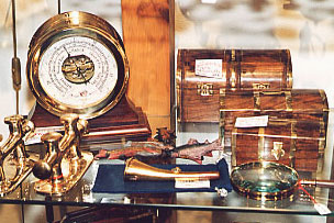 Ship's barometer and model sea chest